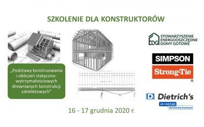 Szkolenie dla konstruktorów                                                    w dniach 16-17 grudnia 2020r.